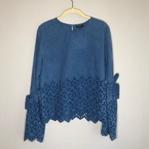 Style Envy Blue Denim Bell-Sleeve Top